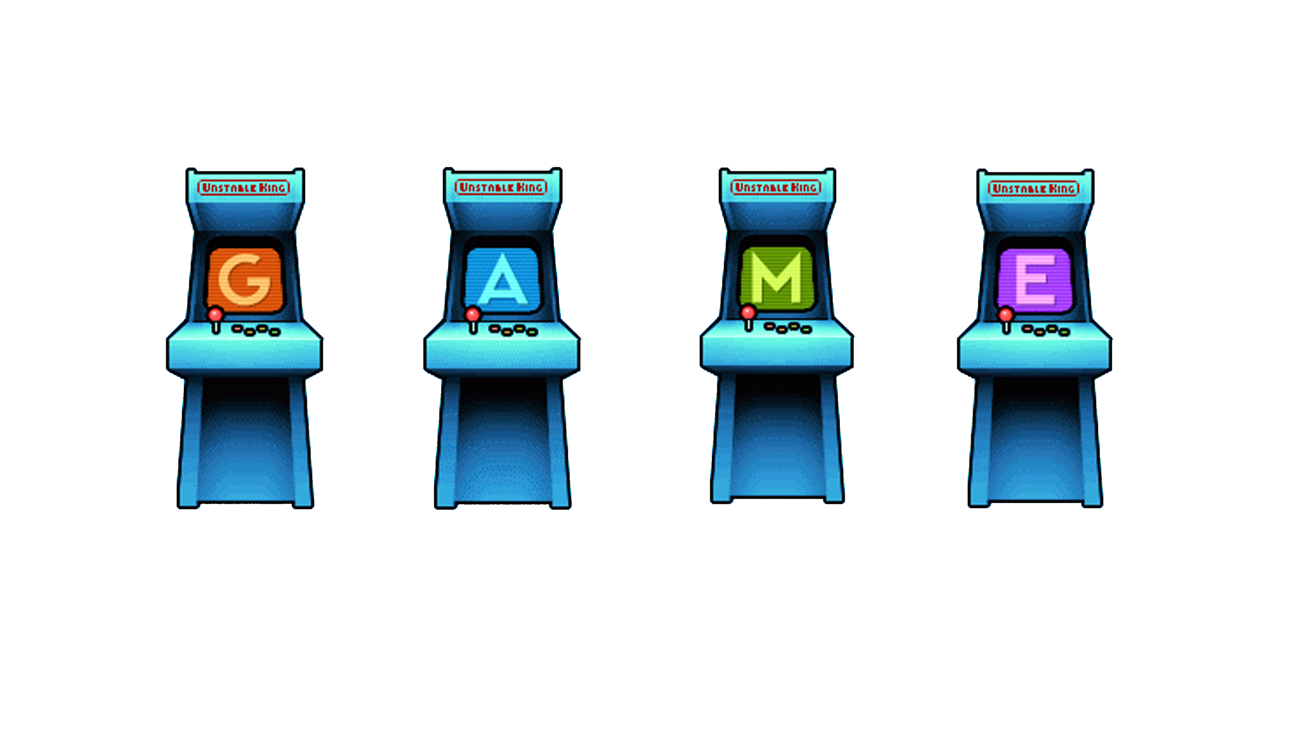 Four pixel drawn arcade machines that spell out the letters GAME.